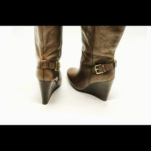 Coach Shoes - Coach Leather Knee High Wedge Boots